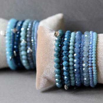 Biba kralen armbanden blauw zilverkleurig 4 stuks