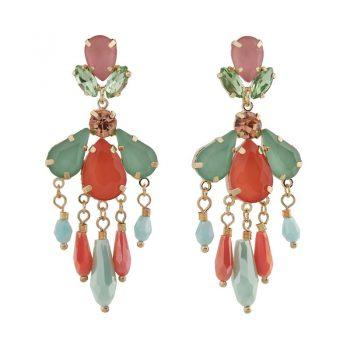 Biba oorbellen gekleurde crystal kralen - groen