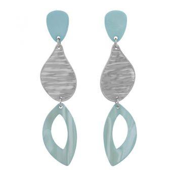 Biba oorbellen in flex hanger pastel blauw zilverkleur