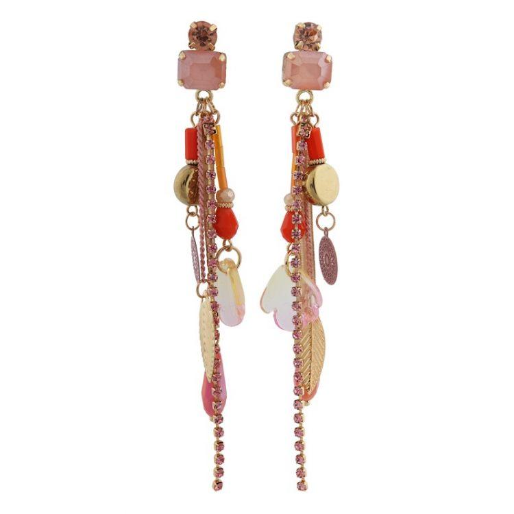 Biba Ibiza style roze oorbellen
