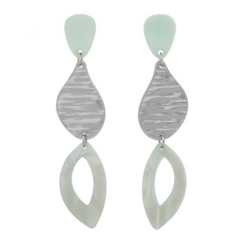 Biba oorbellen in flex hanger pastel groen zilverkleur