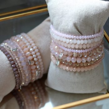 Biba kralen armbanden zacht roze tinten