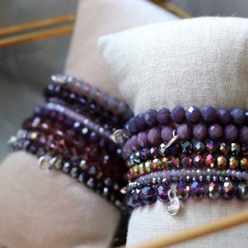 paars tinten armbanden kralen Biba