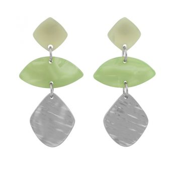Biba zilver metaal art ovaal oorbellen groen