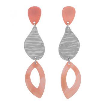Biba oorbellen in flex hanger licht roze zilverkleur