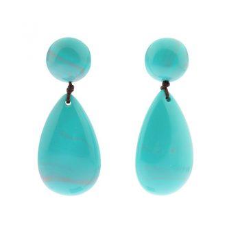 Biba grote oorbellen resin blauw-groen