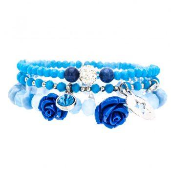 Biba kralen armbanden met roosjes blauw tinten 3 stuks