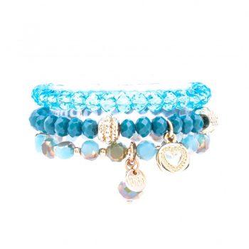 Biba kinderarmbanden set crystal kralen groen-blauw 3 delig