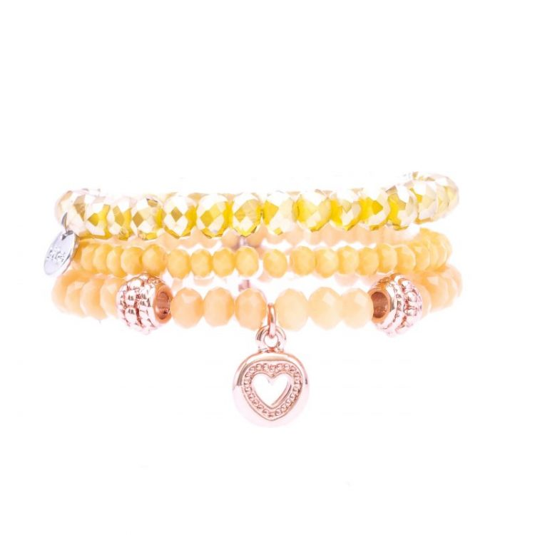 Biba kinderarmbanden set crystal kralen geel tint 3 delig