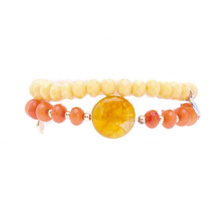 Biba kinderarmbanden set crystal kralen room-oranje 2 delig