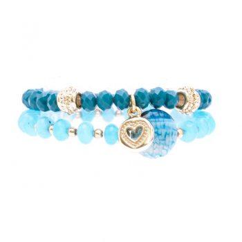 Biba kinderarmbanden set crystal kralen groen-blauw 2 delig