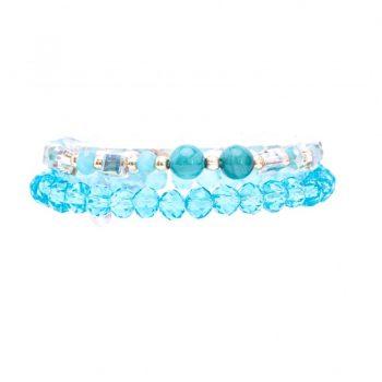 Biba kinderarmbanden set crystal kralen blauw tinten 2 delig