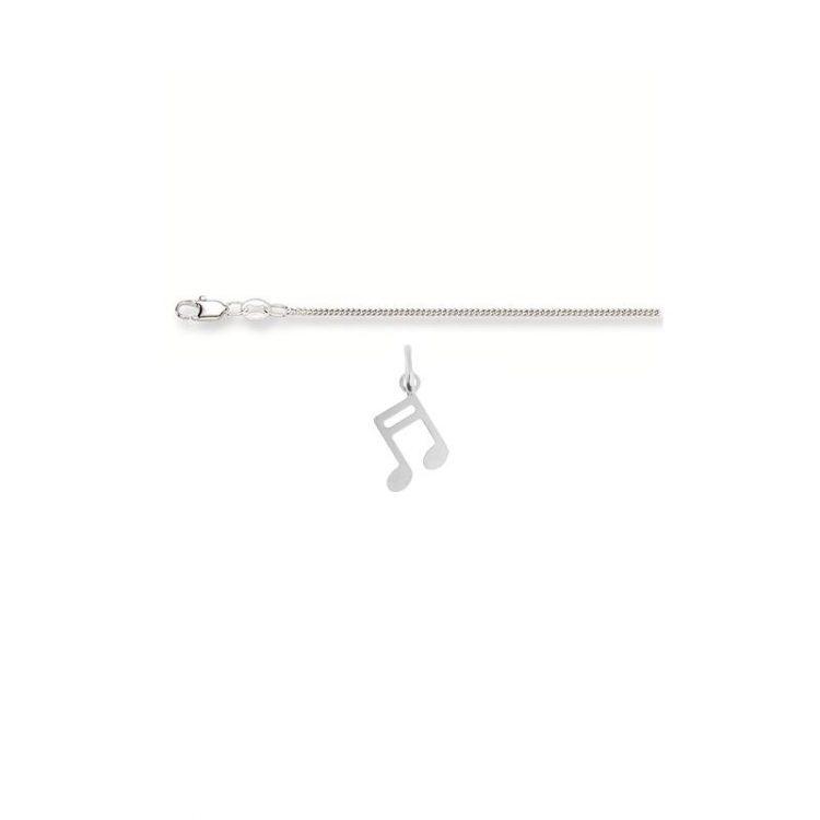 Zilveren kinderketting met hanger muzieknoot