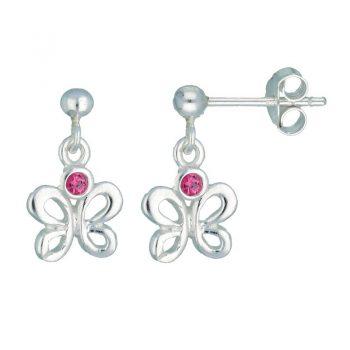 Lilly kinderoorbellen vlinders met roze steen