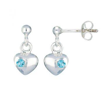 Lilly kinderoorbellen hanger hartje met blauwe steen