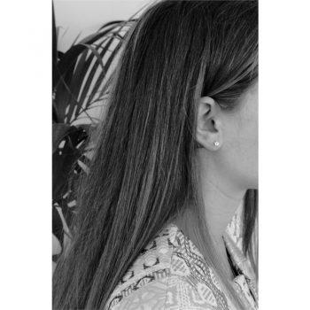 Lilly kinderoorbellen bloem effen zilver - oorknoppen voorbeeld