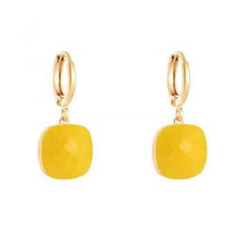 Oorringen goudkleurig klapsluiting met gele steen