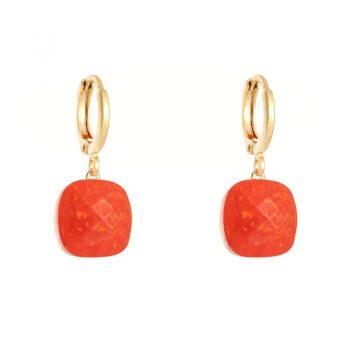 Oorringen goudkleurig klapsluiting met oranje - rood steen