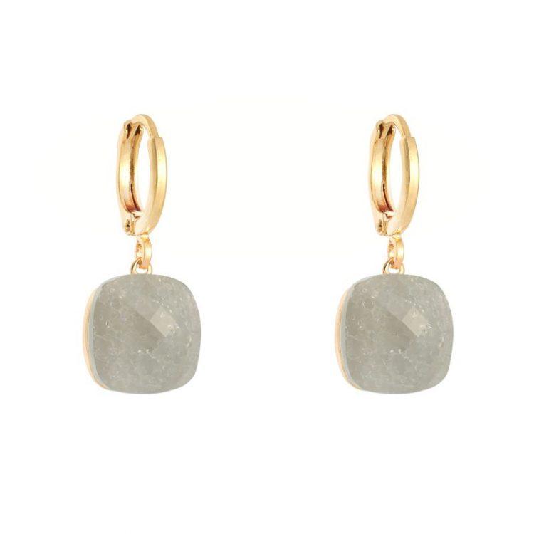 Oorringen goudkleurig klapsluiting met grijze steen