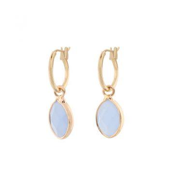 Biba goudkleurige oorringen licht blauwe natuursteen hanger