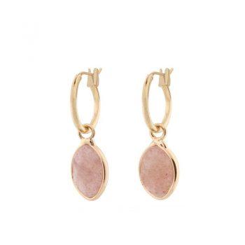 Biba goudkleurige oorringen roze natuursteen hanger