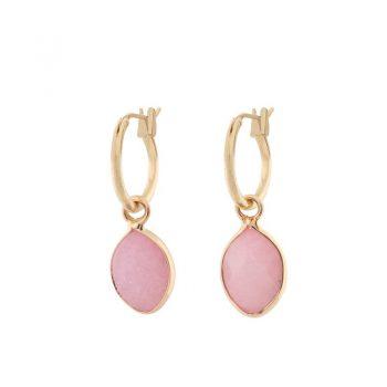 Biba goudkleurige oorringen natuursteen hanger roze