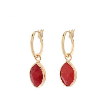 Biba goudkleurige oorringen natuursteen hanger rood