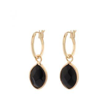 Biba goudkleurige oorringen natuursteen hanger zwart