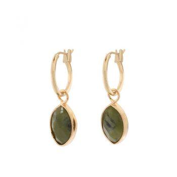 Biba goudkleurige oorringen donker groene natuursteen hanger