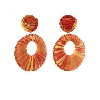 Biba oorbellen raffia oranje