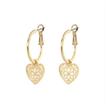 Biba oorringen met hanger opengewerkte hart goudkleurig