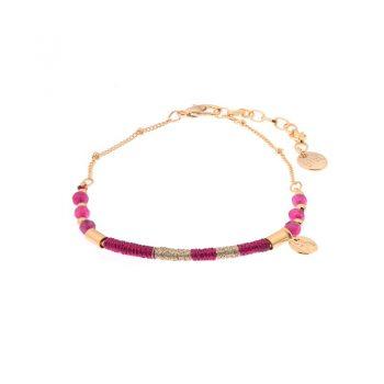 Biba armband goudkleurig roze metaal-textiel-natuursteen