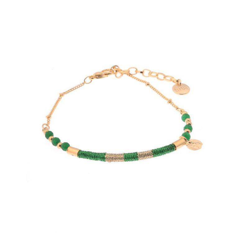 Biba armband goudkleurig groen metaal-textiel-natuursteen