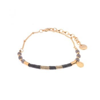 Biba armbandje goud met grijs natuursteen kralen