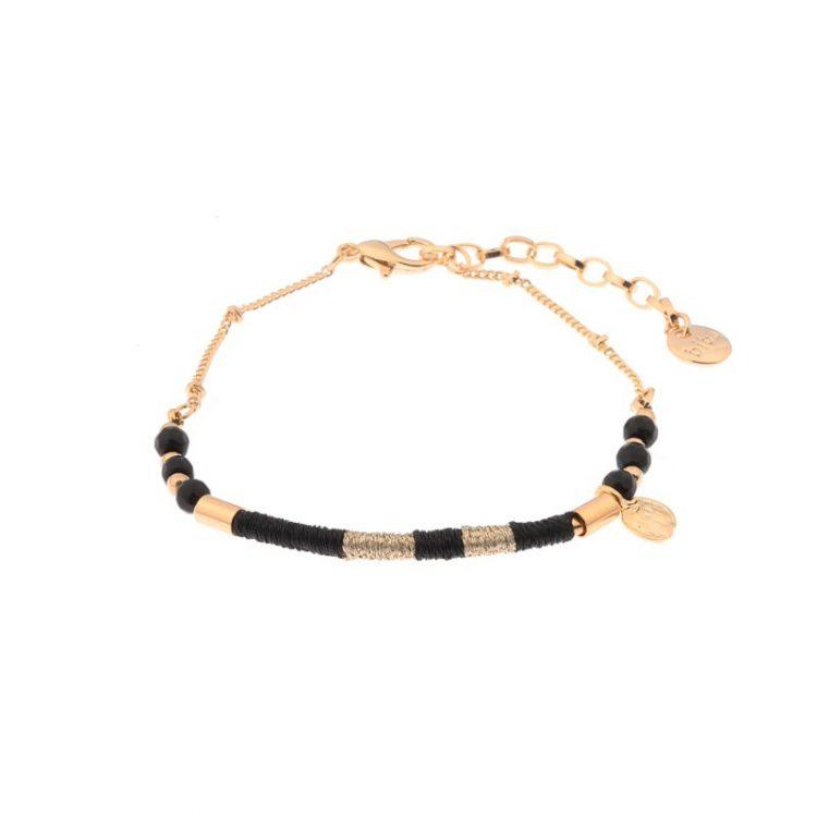 Biba armband goudkleurig zwart metaal-textiel-natuursteen
