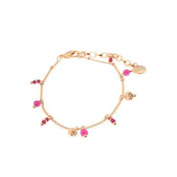 Biba armband roze goudkleurig hangertjes-natuursteen kralen