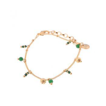 Biba armband groen goudkleurig hangertjes-natuursteen kralen