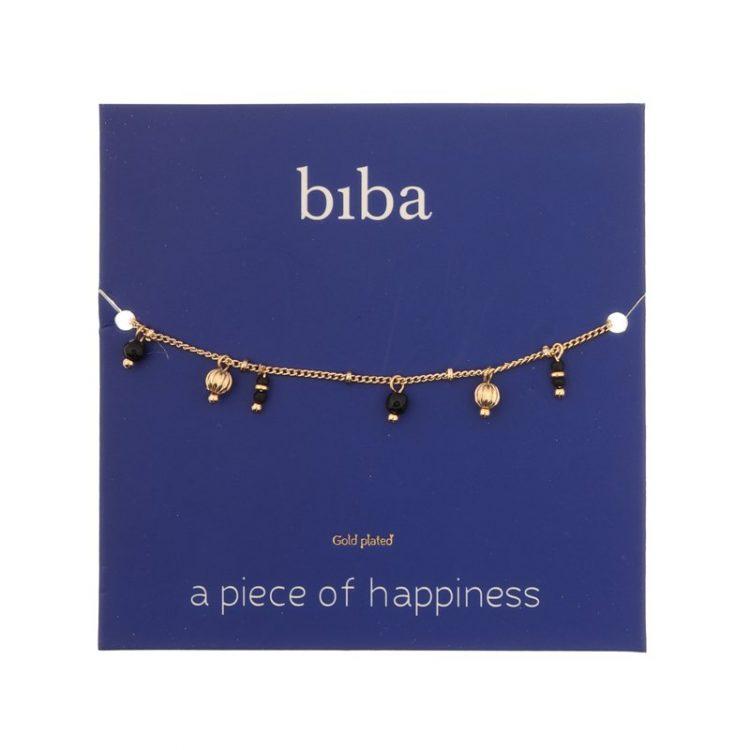 Biba armband zwart goudkleurig metalen hangertjes-natuursteen kralen