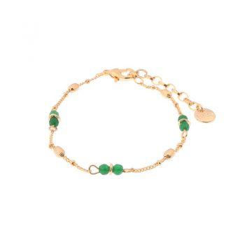 Biba armband goudkleurig groen metaal-natuursteen
