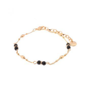 Biba armband goudkleurig zwart metaal-natuursteen