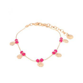 Biba armband roze goudkleurig metaal-textiel-natuursteen