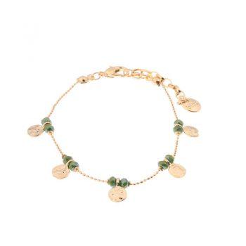 Biba armband groen goudkleurig metaal-textiel-natuursteen