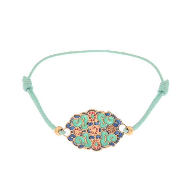 Biba armbandje elastiek met fantasie inzet licht blauw