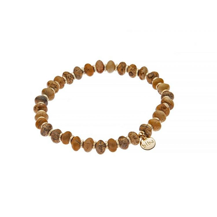 Biba natuursteen kralenarmband levendig bruin