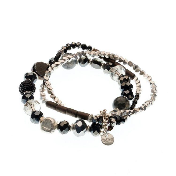 Biba armbanden set Eliza - zwart zilverkleurig