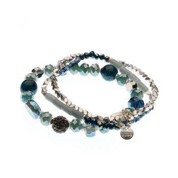 Biba armbanden set Eliza - blauw zilverkleurig