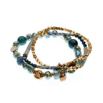 Biba armbanden set Eliza - blauw goudkleurig