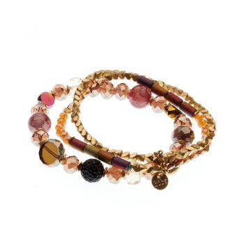 Biba armbanden set Eliza - rood goudkleurig