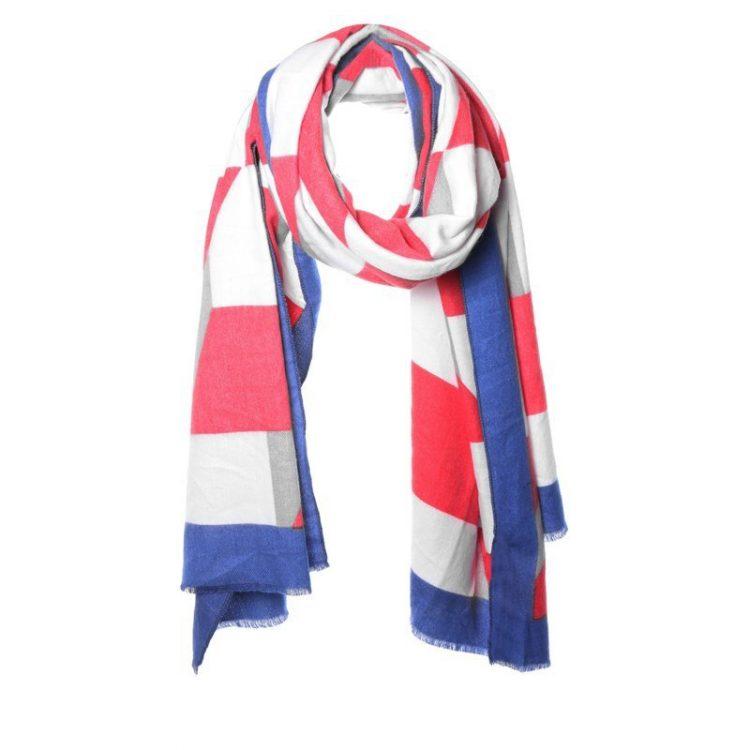 Biba sjaal blauw-rood-creme vlakken