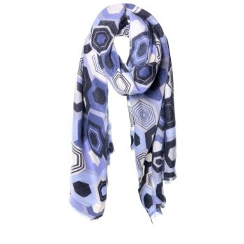 Biba sjaal blauwtinten zeshoek print